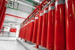 Grands extincteurs de CO2 dans une centrale Photographie stock libre de droits