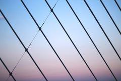 Grands fils de soutien d'un pont pendant le coucher du soleil formant un modèle images libres de droits