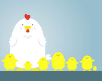 Grands gros poule et poulet blancs mignons photographie stock