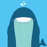 Grands gros sourire et clin d'oeil mignons de baleine Illustration Stock