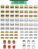 Grands hamburgers d'ensembles, hot-dogs et fritures de pomme de terre dans les lignes Images libres de droits