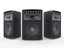 Grands haut-parleurs audio sur le fond blanc Photo libre de droits