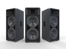 Grands haut-parleurs audio sur le fond blanc Photo stock