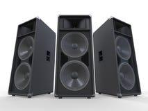 Grands haut-parleurs audio sur le fond blanc Photos stock
