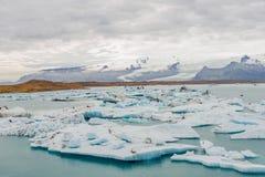 Grands icebergs bleus à la lagune de glacier sur l'Islande, heure d'été Photo libre de droits