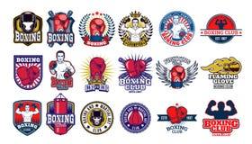 Grands insignes de boxe d'ensemble, autocollants d'isolement sur le blanc Photo libre de droits