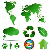 Grands logos d'eco réglés Images stock