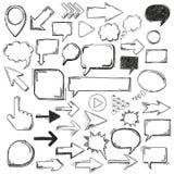 Grands marqueurs noirs de flèches de bulles d'éléments d'Oldschool illustration stock