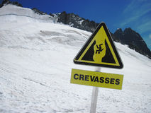 Grands Montets crevasses Royalty Free Stock Photo