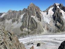 Grands Montets i Argentière lodowiec zdjęcie stock