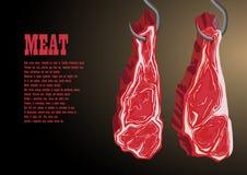 Grands morceaux de viande accrochant sur un crochet Photos libres de droits
