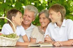 Grands-parents avec le livre de lecture de petits-enfants Photos libres de droits