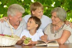 Grands-parents avec le livre de lecture de petits-enfants Photos stock