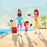 Grands parents de famille avec deux enfants des vacances d'été de vacances de bord de la mer illustration libre de droits