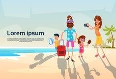 Grands parents de famille avec deux enfants des vacances d'été de vacances de bord de la mer illustration de vecteur