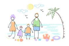 Grands parents de plage de support de bord de la mer de mer de vacances de famille avec deux enfants Images libres de droits