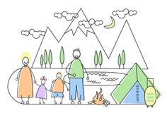 Grands parents de tourisme de camping de famille avec deux enfants Photo stock