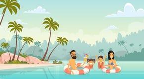 Grands parents de vacances d'été de bord de la mer de mer de vacances de natation de famille avec deux enfants illustration stock