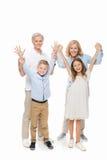 Grands-parents et enfants heureux Photo libre de droits