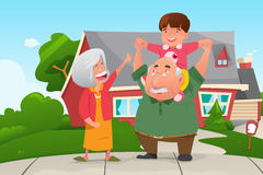 Grands-parents jouant avec leur petit-fils Photos libres de droits