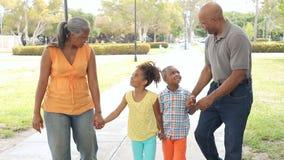 Grands-parents marchant avec des petits-enfants en parc clips vidéos