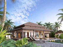 Grands pavillons de luxe sur les îles Image libre de droits
