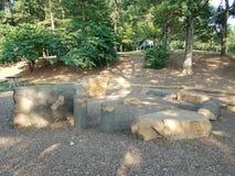 Grands pierres et rondins et paillis Photos libres de droits