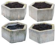 Grands pots de fleurs hexagonaux de béton de vintage Photographie stock