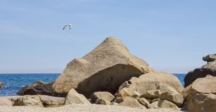 Grands rochers et pierres se trouvant sur le rivage de la mer bleue photos libres de droits