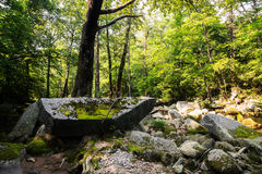 Grands rochers sur des banques d'une rivière de montagne Photos stock