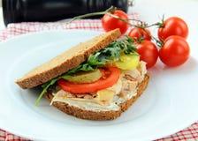 Grands sandwichs sains effectués avec du pain entier de texture Images libres de droits