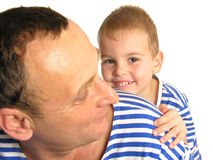 Grandson behind grandfather. Isolated royalty free stock image