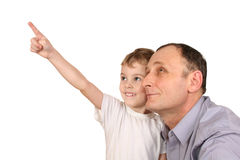 Grandson finger point Stock Photos