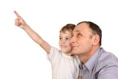 Grandson finger point Stock Photos