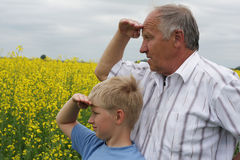 Grandson and grandfather Royalty Free Stock Image