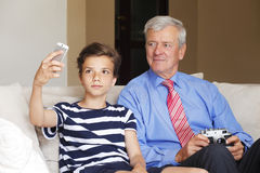 Grandson and grandfather Royalty Free Stock Images