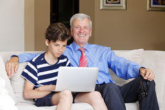 Grandson and grandfather portrait Stock Photography