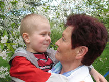 Grandson and grandmother in garden Stock Images