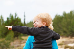 Grandson having fun in nature Stock Photos