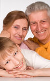Grandson with his grandparents Royalty Free Stock Photos