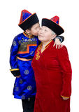 Grandson kisses his grandmother Royalty Free Stock Photos