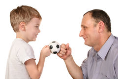 Grandson soccer ball Stock Image