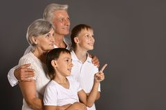 Grandsons with grandparents Stock Photo