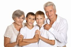 Grandsons with grandparents Royalty Free Stock Images