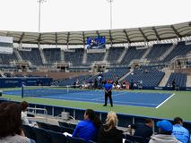 Grandstand Court - US Open Tennis. Women`s doubles match in 2017 on the new Grandstand Court at the US Open Tennis Championships Stock Photo