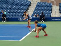 Grandstand Court - US Open Tennis. Women`s doubles team of Barbora Strycova L and Lucie Safarova in 2017 on the new Grandstand Court at the US Open Tennis Stock Photos