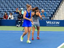 Grandstand Court - US Open Tennis. Women`s doubles team of Gabriela Dabrowski L and Yifan Xu in 2017 on the new Grandstand Court at the US Open Tennis Stock Photos