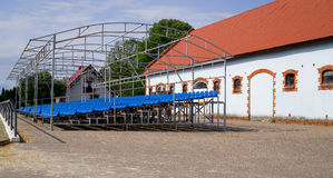 Grandstand on field for show jumping Stock Image