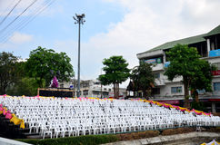 Grandstand for people join Bridge over the River Kwai festival Stock Photo
