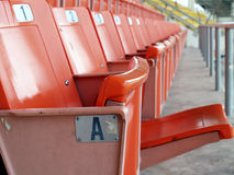 Close-up empty orange grandstand seats with seat number label in sports arena Royalty Free Stock Images